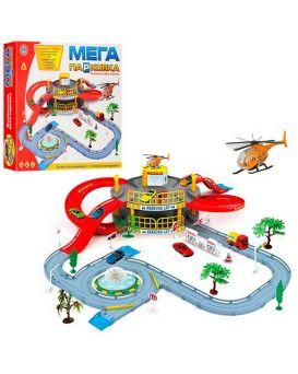 Гараж 2 этажа, машина, вертолет, дорожные знаки, дерево 2 шт., в коробке 41х36х7 см