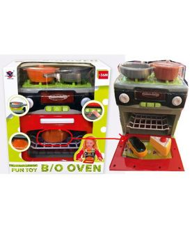 Бытовая техника 19,5 см, на батарейке, плита, посуда, продукты, звук, свет, в коробке 22х25х12 см