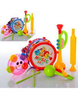 Набор музыкальных инструментов, барабан 16см, дудка 2шт, маракасы, в ассортименте, в пакете 25х30х10