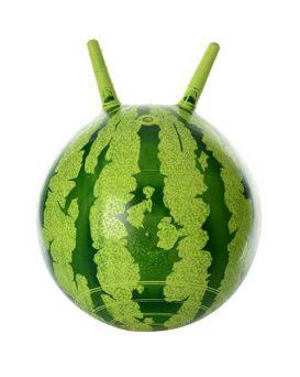 Мяч для фитнеса с рожками «Арбуз» 38 см, 310 гр., в пакете 19х13х5 см