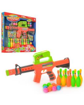 Автомат 41 см, стреляет шариками, шарики 10 шт., кегли 10 шт, 648 W, в коробке 45,5х42х6 см