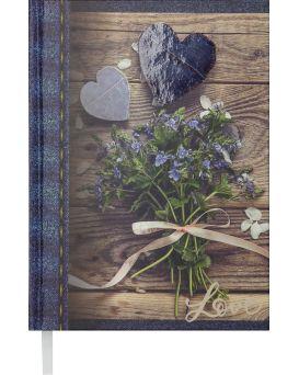 Ежедневник недатированный A5 «ROMANTIC» 288 стр., темно - синий