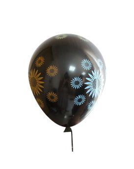 Шарики воздушные 30 см, черные «Цветы» 100 шт. в уп.