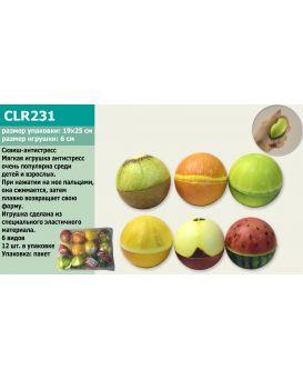Антистресс-сквиш CLR231 шарик-фрукт, 6,5 см, в ассортименте, в пакете