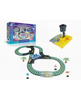 Железная дорога на батарейке, свет, звук, свет, семафор, в коробке 49х9х31 см
