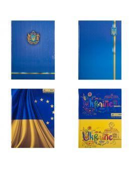 Книга учета А4 «Украинская символика» в клетку, офсет, твердая ламинированная обл. 96 л.