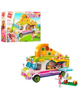 Конструктор 2013 розовая серия, кафе на колесах, фигурки, 414 деталей, в коробке 37х26,5х6,5 см