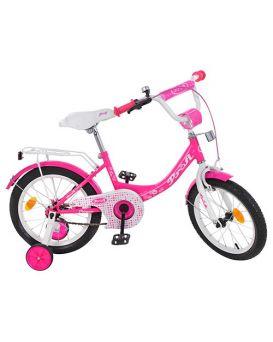 Велосипед детский 2-х колесный 14 дюймов «PROF1 Princess» зеркало, звонок, доп. кол., малиновый