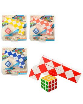 Игра головоломка, змейка, кубик 3,5х3,5 см, в ассортименте, в слюде 18,5х21,5х4 см