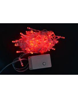 Электрогирлянда светодиодная, 100 ламп, красная, 5 м., 8 режимов мигания, прозрачный провод.