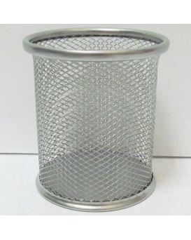 Подставка для ручек круглая 90 х 98 мм, металлическая «Сетка» серебряная (7840-S) DSCN1082-S.