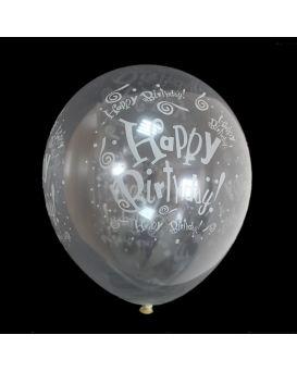 Шарики воздушные 30 см, прозрачные, светящиеся в темноте «Happy Birthday» 100 шт. в уп.