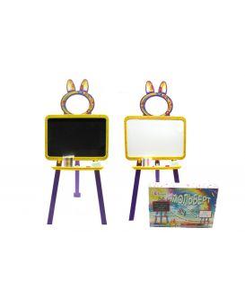 Доска для рисования магнитная 2-х сторонняя с мелом, маркером, мочалкой, цвет желто - фиолетовый