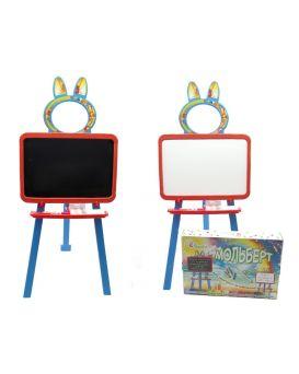 Доска для рисования магнитная 2-х сторонняя с мелом, маркером, мочалкой, цвет оранжево - голубой