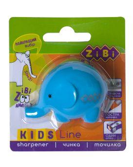 Точилка с контейнером одинарная, голубая «Слоненок» в блистере.