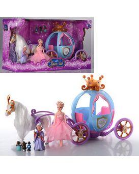 Карета на батарейке с лошадью, свет, звук, кукла, в коробке 43х26х20 см