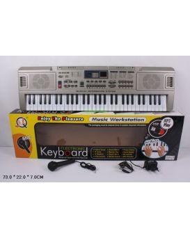 Орган, синтезатор, пианино от сети, на батарейке, 61 клавиша, микрофон, в коробке 73х22х7 см
