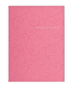 /Тетрадь на пруж. Barocco А4, 80 л, кл., розовый, пласт.обл.