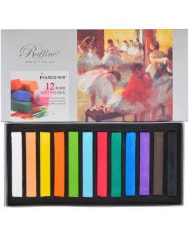 Пастель квадратная, сухая, 12 цветов «Raffine fine art» TM Marco