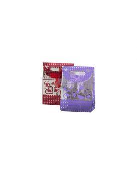 Пакет на липучке с бантиком 12,5 х 16,5 х 6 см, цвета: красный, розовый, фиолетовый «Сердца»