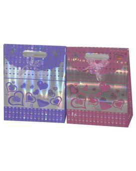 Пакет на липучке СЕРДЦА 20х24х9см с бантиком цвета: красный/розовый/фиолетовый