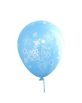 Шарики воздушные 12 см голубые «it's a boy» 100 шт. в уп, Имп