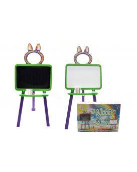 Доска для рисования магнитная 2-х сторонняя с мелом, маркером, мочалкой, цвет салатово - фиолетовая