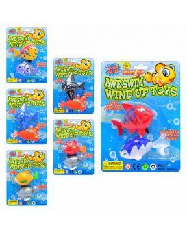 Водоплавающая игрушка рыбки, 2 шт, в ассортименте, заводная, на листе, 19-14см