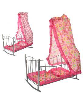 Колыбель для кукол металлическая 47х33х67см,балдахин,подушка,спальное место 43см,в кор.33,5х47х5,5см
