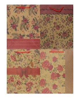 Пакет подарочный, крафт 15 х 6 х 20 см, в ассортименте «Цветы»