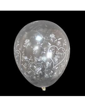 Шарики воздушные 30 см, прозрачные, белого цвета «I Love You» 100 шт. в уп.