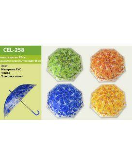 Зонтик детский длина трости 82 см, диаметр 98 см, в ассортименте, в пакете