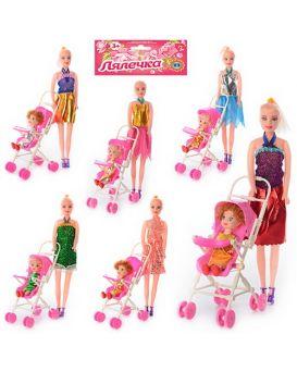 Кукла 27 см, с коляской 10х17,5х7 см, дочкой 10,5 см, в ассортименте, в пакете 33х22х7 см