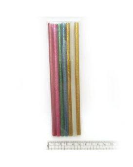 Клей-стержни для клей. пистол 18*0,7 см, glitter 7шт./OPP, mix7 цветов