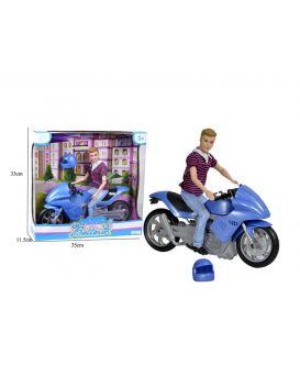 Кен с мотоциклом, в коробке 33х35х11,5 см