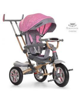 Велосипед 3-х кол. 12 дюймов, резиновые кол., поворотное сиденье на 360, регулируемый руль, розовый