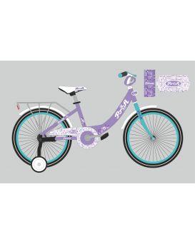 Велосипед детский 2-х колесный 16 диаметр, из звонком, дополнительные колеса, сиренево - мятный