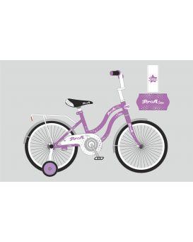 Велосипед детский 2-х колесный 18 дюймов «PROF1 Star» звонок, дополнительное колесо, сиренево-серый