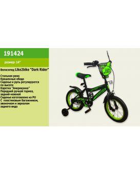 Велосипед детский 2-х колесный 14 дюймов «Like2bike Dark Rider» черно - салатовый.