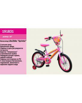 Велосипед детский 2-х колесный 18 дюймов «Like2bike Sprint» розовый.