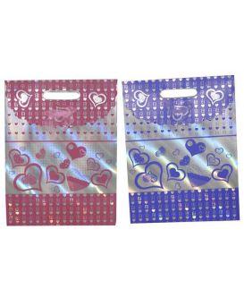 Пакет на липучке с бантиком 24,5 х 32 х 10 см, цвета: красный, розовый, фиолетовый «Сердца»