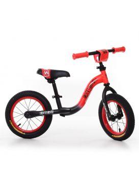 Беговел «PROFI KIDS» резиновые колеса диаметром 12 дюймов, метал. каркас, матовый красно - черный