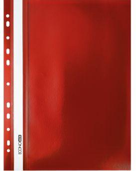 Папка - скоросшиватель А4 Economix с перфорацией, фактура «апельсин», красная.