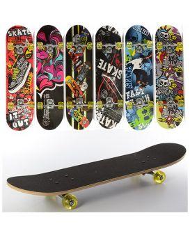 Скейт 78,5х20 см, алюминевая подвеска, колеса ПУ, 7 слоев, в ассортименте, в пакете, 608Z