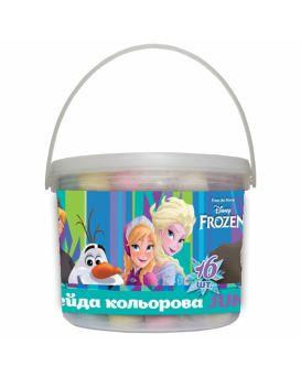 Мел цветной 16 шт. JUMBO в ведре «Frozen»