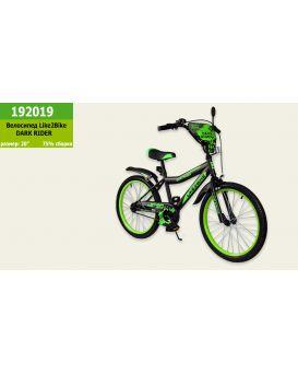 Велосипед детский 2-х колесный 20 дюймов «Like2bike RALLY» черно-салатовый, без тренировочных колес