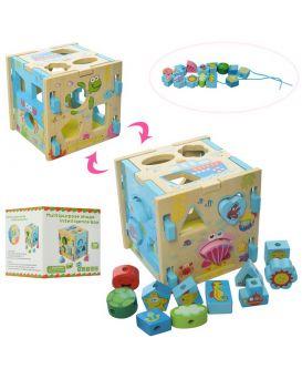 Деревянная игрушка Сортер MD 2069  куб, шнуровка, фигурки, в кор-ке, 15-15-15см