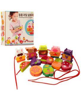 Деревянная игрушка Шнуровка MD 1079  12деталей(фрукты,животные),в кор-ке,18-18-4,5 см
