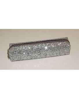 Пенал глиттер серебро крупные блестки