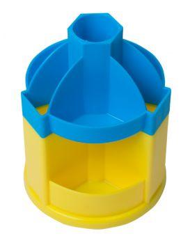 /Подставка-вертушка канцелярская UKRAINE, 10 отделений, сине-желтая